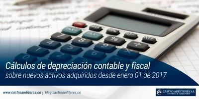 Cálculos de depreciación contable y fiscal sobre nuevos activos adquiridos desde enero 01 de 2017