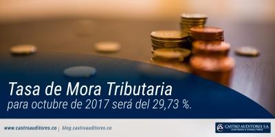 Tasa de mora tributaria para octubre de 2017 será del 29,73 %