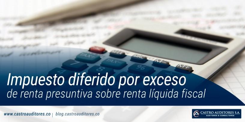Impuesto diferido por exceso de renta presuntiva sobre renta líquida fiscal | Blog de Castro Auditores
