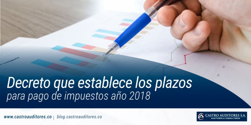 Decreto que establece los plazos para pago de impuestos año 2018