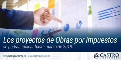 Los proyectos de Obras por impuestos se podrán radicar hasta marzo de 2018