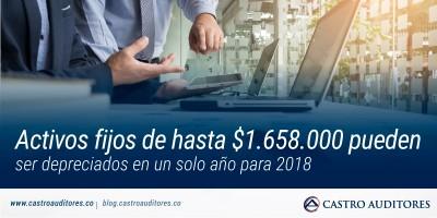 Activos fijos de hasta $1.658.000 pueden ser depreciados en un solo año para 2018 | Blog de Castro Auditores
