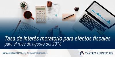 Tasa de Interés Moratorio para efectos fiscales para el mes de agosto del 2018 | Blog de Castro Auditores