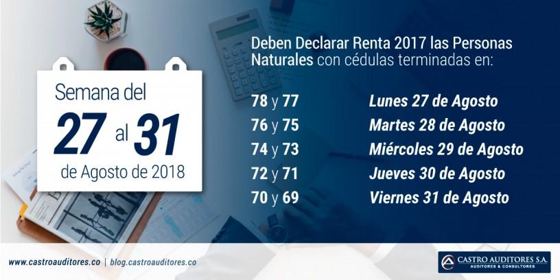 La Semana entre el 27 y 31 de Agosto, deben Declarar Renta 2017 las Personas Naturales con cédulas terminadas entre 78 y 69 | Blog de Castro Auditores