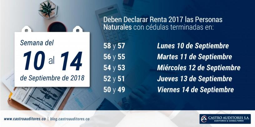 La Semana entre el 10 y 14 de Septiembre, deben Declarar Renta 2017 las Personas Naturales con cédulas terminadas entre 58 y 49 | Blog de Castro Auditores