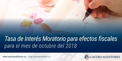 Tasa de Interés Moratorio para efectos fiscales para el mes de octubre del 2018 | Blog de Castro Auditores
