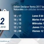 La Semana entre el 8 y 12 de Octubre, deben Declarar Renta 2017 las Personas Naturales con cédulas terminadas entre 18 y 09 | Blog de Castro Auditores
