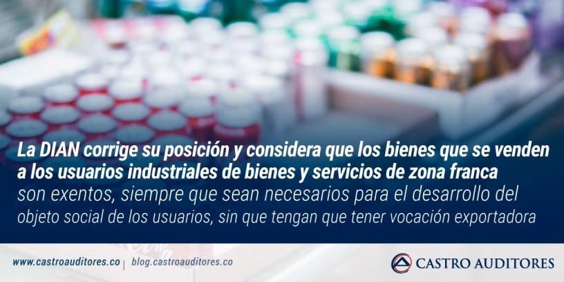 DIAN considera que los bienes que se venden a los usuarios industriales de bienes y servicios de zona franca son exentos | Blog de Castro Auditores