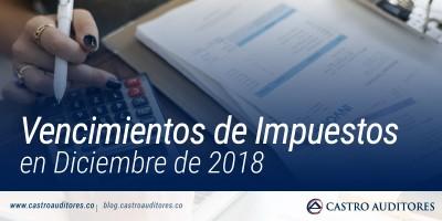 Vencimientos de Impuestos en Diciembre de 2018 | Blog de Castro Auditores