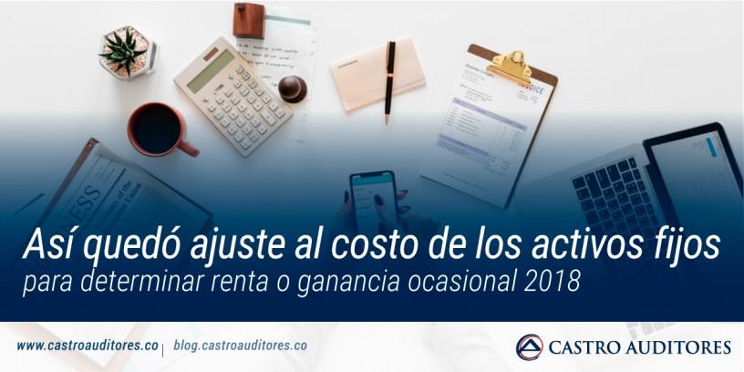 Así quedó ajuste al costo de los activos fijos para determinar renta o ganancia ocasional 2018 | Blog de Castro Auditores
