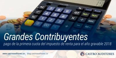 Grandes Contribuyentes: pago de la primera cuota del impuesto de renta para el año gravable 2018 | Blog de Cstro Auditores