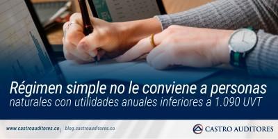 Régimen simple no le conviene a personas naturales con utilidades anuales inferiores a 1.090 UVT | Blog de Castro Auditores