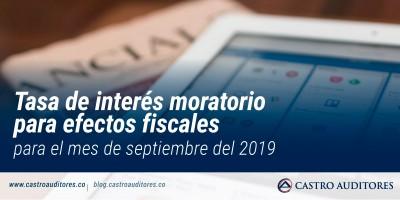 Tasa de interés moratorio para efectos fiscales para el mes de septiembre del 2019 | Blog de Castro Auditores