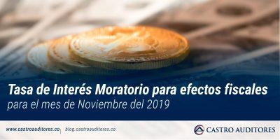 Tasa de Interés Moratorio para efectos fiscales para el mes de Noviembre del 2019 | Blog de Castro Auditores