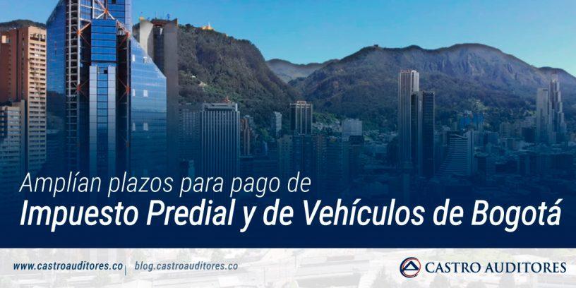Amplían plazos para pago de impuesto predial y de vehículos de Bogotá