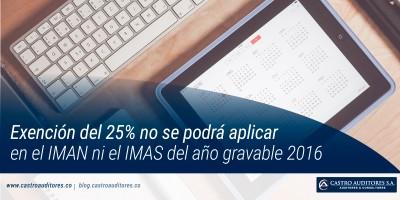 Exención del 25% no se podrá aplicar en el IMAN ni el IMAS del año gravable 2016